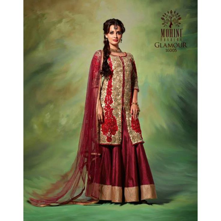 Dia Mirza Maroon Colour Lehenga