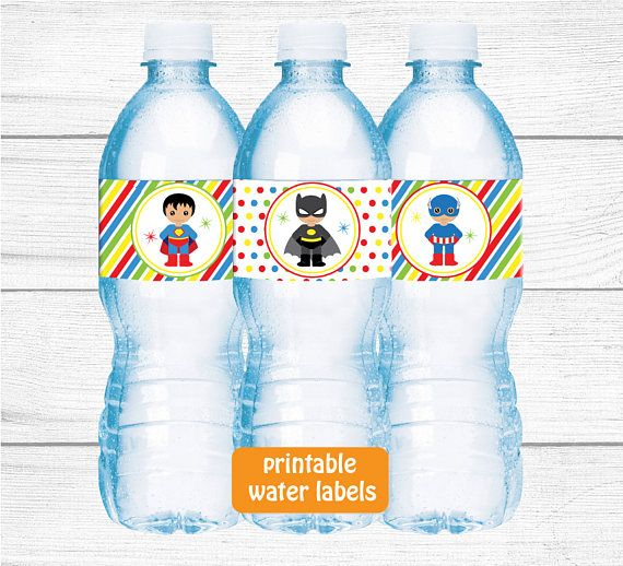 Printable Superhero Bottle LabelSuperhero Water Bottle