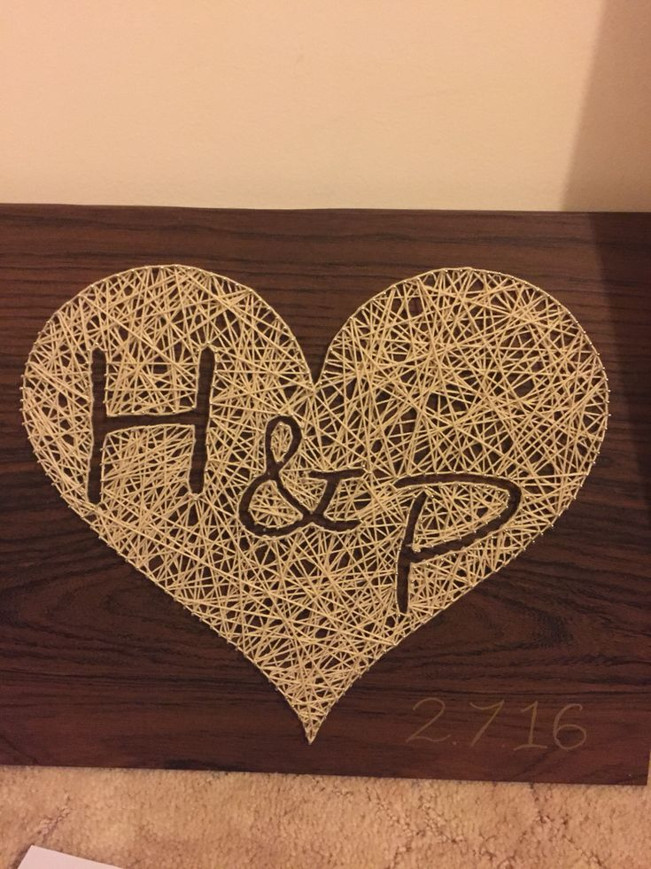 Wedding string art heart with initials