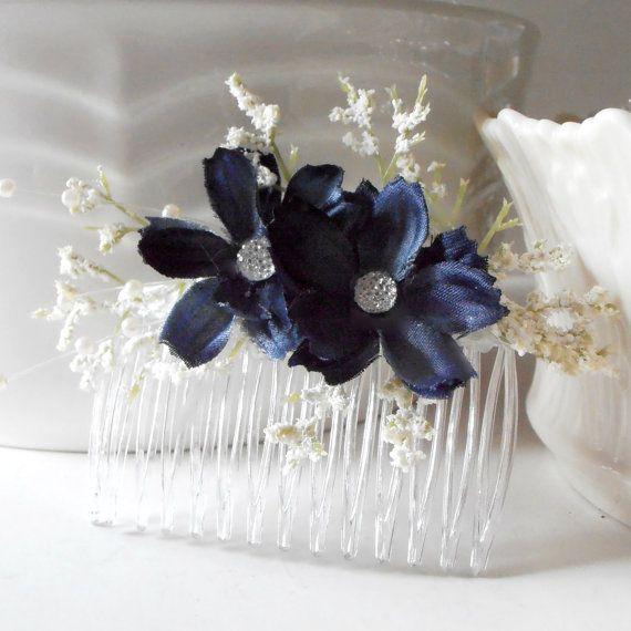 Navy Blue Flower Hair Combs Bridesmaid Hair Accessories Rustic Country Garden Weddings Hair Flowers Dark Blue on Etsy, $10.00