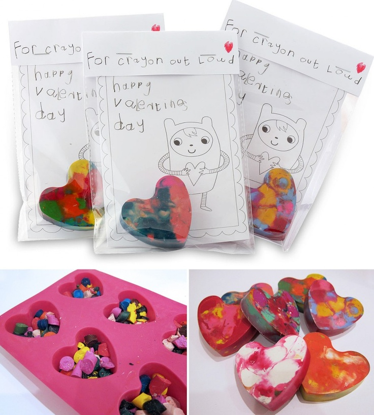 FOR CRAYON OUT LOUD - these melted crayon heart treat bags went down so well for #valentines last year http://mollymoo.ie/2012/02/for-crayon-out-loud/