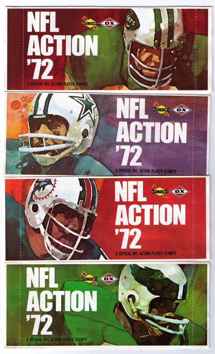 Sunoco NFL Action '72 stamp sets with super-fine Jets, Cowboys, Dolphins, and Eagles artwork