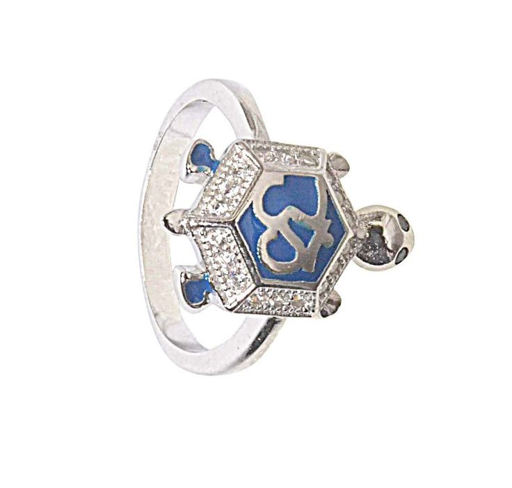 Tortoise Ring In 925 Sterling Silver Om Cz Blue New Turtle Animal Charm Heavy #Animal