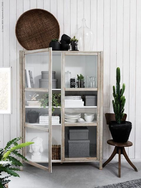Make a new Bjorksnas cabinet from IKEA look timeworn and vintage with a little effort, paint and instructions here. I can imagine this looking very cool with a distressed black finish as well and maybe some caster wheels.