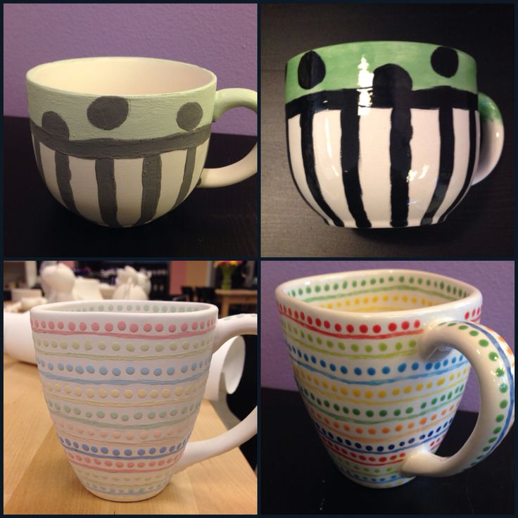 Mugs, before and after firing.