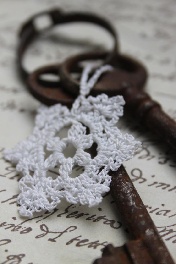 Crotchet snowflake and antique keys