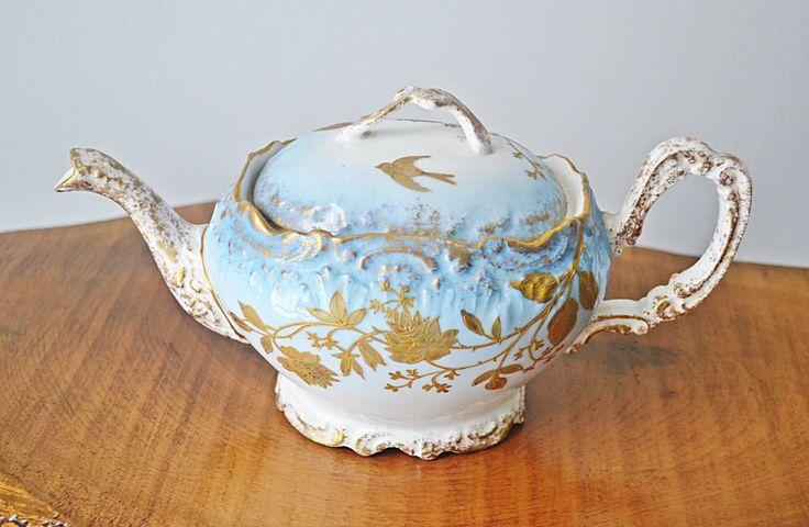 Antique A.K Limoges Teapot, Blue White Gold Teapot, Gilt Enamel Flowers And Birds, 1890's Teapot