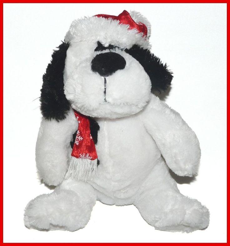 Atico White Black Santa Hat Christmas Dog Plush Lovey