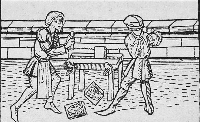 Two man working a cross-cut saw on a workbench. The workbench is fitted with a screw clamp. Blockbuch Eysenhuts, 1471. Herzogliche Bibliothek, Xyl III no. 8. Gotha, Germany