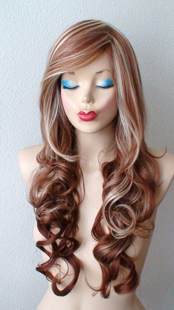 Auburn / blonde Ombre wig. Long curly hair Long side by kekeshop