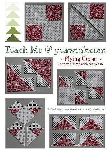 Flying Geese x4...This method is pretty straight-forward and involves no waste, but precise cutting and careful pressing are needed to ensure the best results.  Very straight lines with exact seam allowances are a must.  Try this method with some scraps first to see if it's going to work for you.