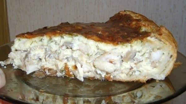 Сытный, вкусный пирог - не оторваться! Очень удачный рецепт заливного пирога! Ингредиенты:-400 гр. куриного мяса (грудки).-1 банка консервированных шампиньонов.-1 пласт слоеного теста (примерно 300 г…