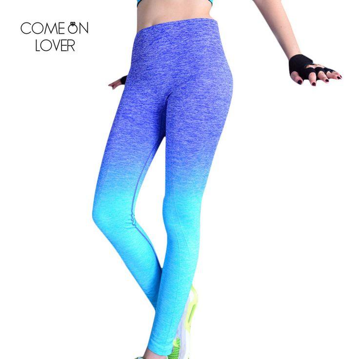 Comeonlover Women Slim Sportleggins High Elastic Comfortable Workout Pants Gradual Change Breathable Women's Fitness Leggings
