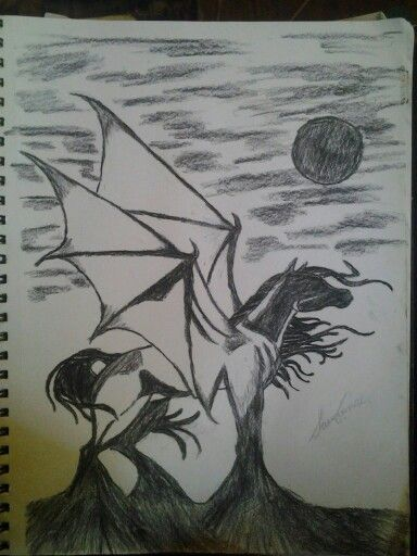 My second ever charcoal drawing, a winged horse rising from the shadows