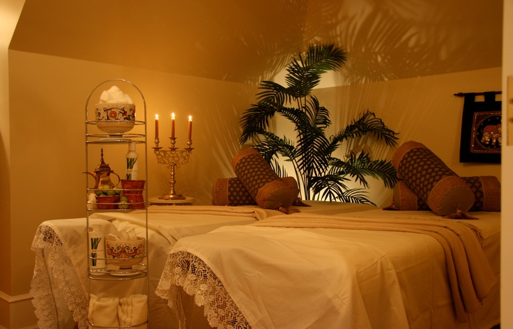Side by side massage tables are perfect for romantic dual massages at the Villa's Penthouse Spa.