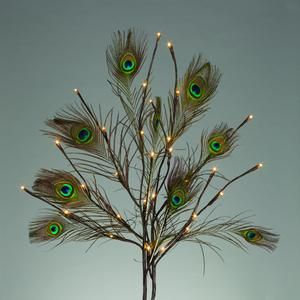 """39"""" Brown Wrapped with Peacock Feathers Battery Operated LED Lighted Branch with Timer (30 Warm White Lights) (Convertible to Electric with ..."""