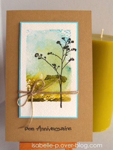 handmade card ... kraft base ... acrylic block with Distress Inks for watercolor background ... luv the colors and the overstamped meadow flower ...