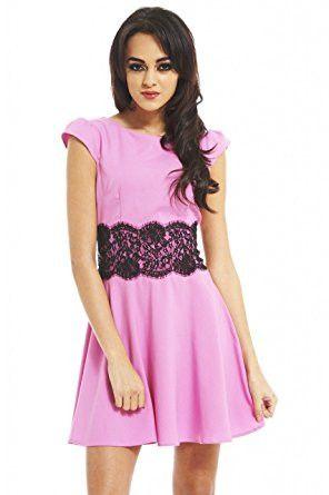 Light Pink Capped Sleeve Lace Waist Skater Dress
