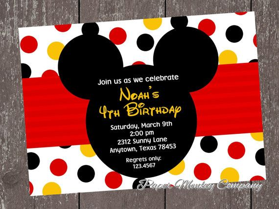 Hey, I found this really awesome Etsy listing at https://www.etsy.com/listing/114558295/mickey-mouse-birthday-invitation