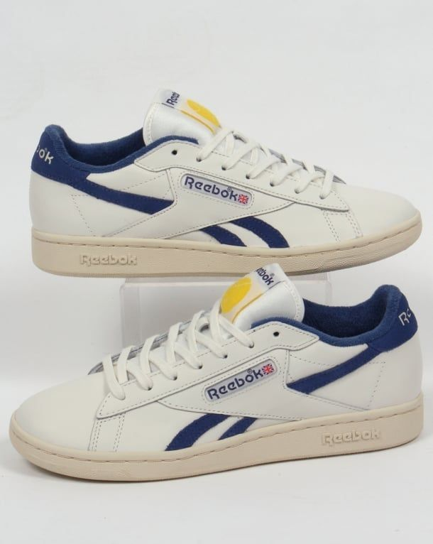 Reebok NPC UK Trainers in Chalk White & Blue - Classic retro tennis shoe  leather