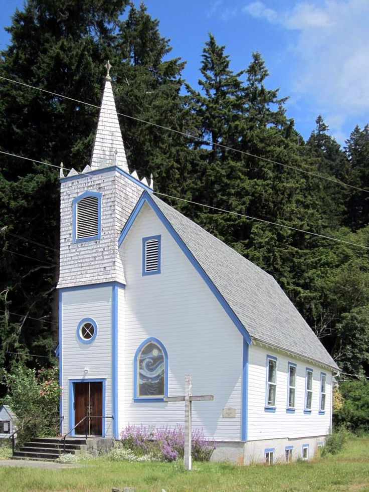 Quadra Island United Church (1931) in Cape Mudge village on Quadra Island, British Columbia, Canada.