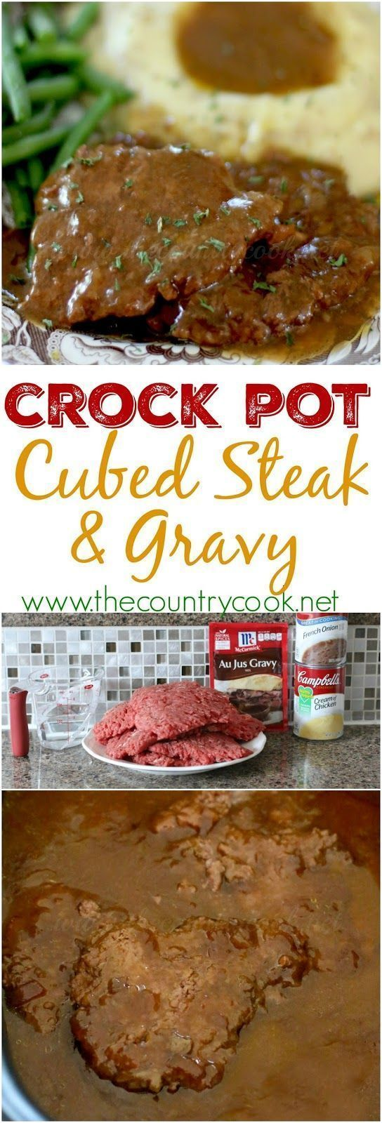 Crock Pot Cubed Steak with Gravy recipe from The Country Cook #crockpot #slowcooker