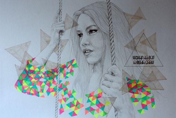 Miss Pilkington's pencil line + acid color illiustration. Rad!
