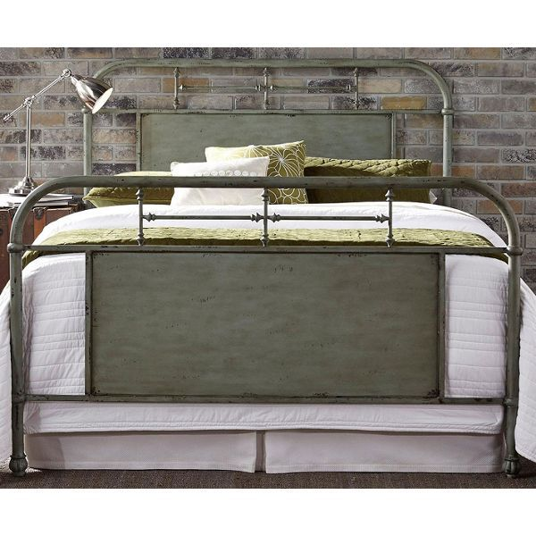 This green metal bed epitomizes cool with its laid back, vintage vibe and chic, modern appeal.   #Vintage #ModernAppeal #BedroomFurniture