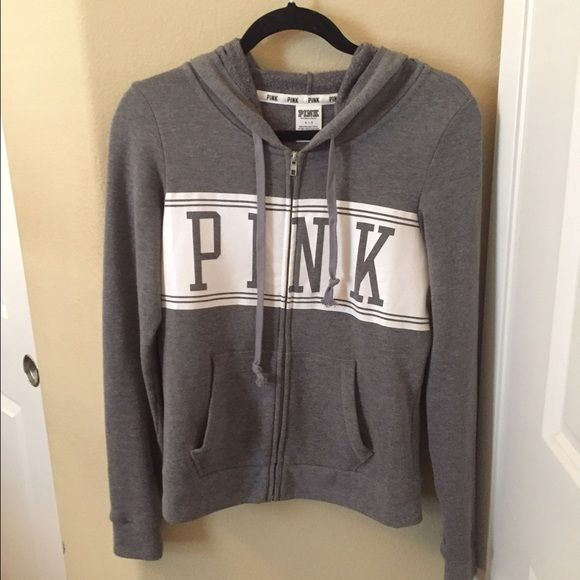 Victoria's Secret Pink zip up hoodie Grey and white zip up hoodie. Size small. True to size. Worn a couple times and still in great condition. PINK Victoria's Secret Tops Sweatshirts & Hoodies