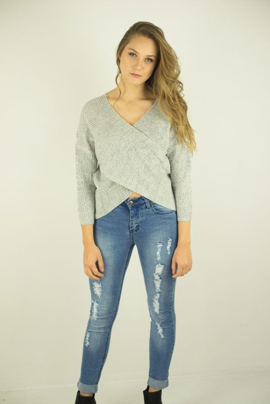 Maddie Cross Over Knit Grey