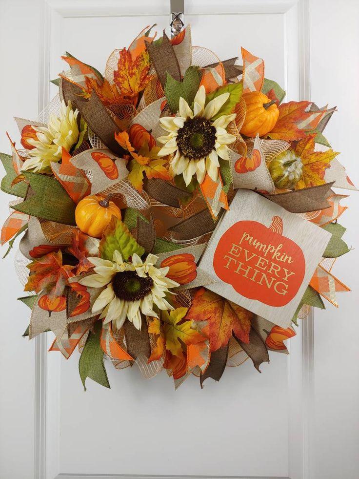 Fall Wreath for Front Door, Pumpkin Everything, Autumn Decoration, Sunflower Wreath, Fall Wreaths for Sale, Fall Decor