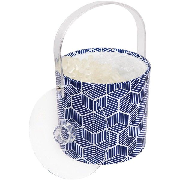 Sunnylife Navy/White Lennox Ice Bucket ($45) ❤ liked on Polyvore featuring home, kitchen & dining, bar tools, ice bucket, wine ice bucket, white ice bucket, white wine chiller and ice-buckets