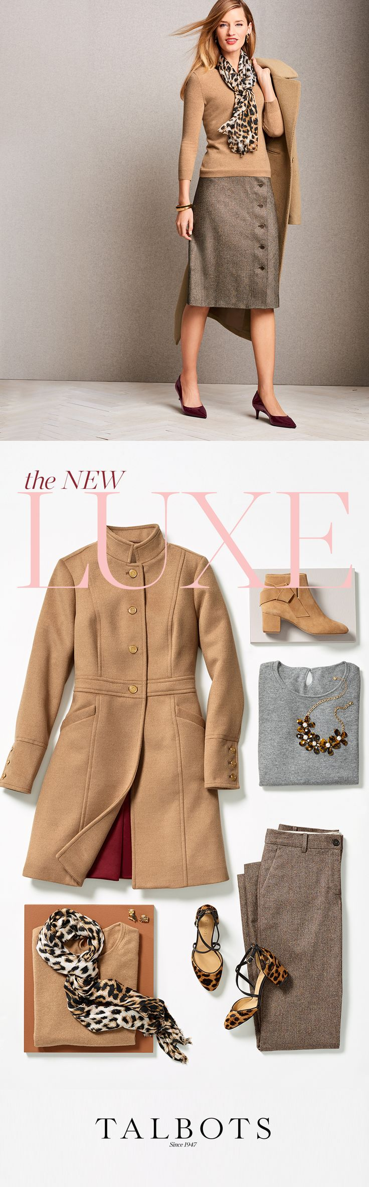 Luxurious fabrics and plush yarns go minimal in streamlined shapes. Keep everything in neutral hues for less fuss and more sophistication. Exclusively at Talbots. Shop Now.