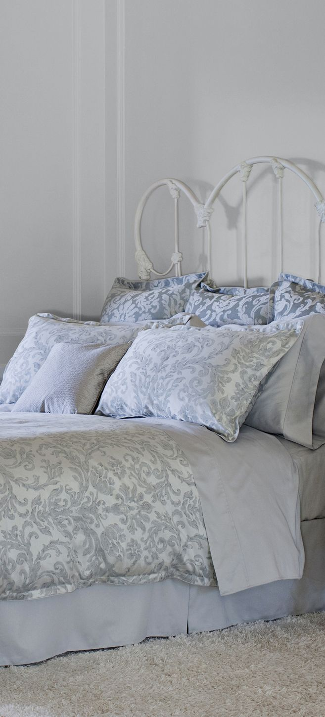 Catalina Ice - St. Geneve Cristalli Collection Fall 2015 #bedroom #linens #design #duvet #pillow #shams