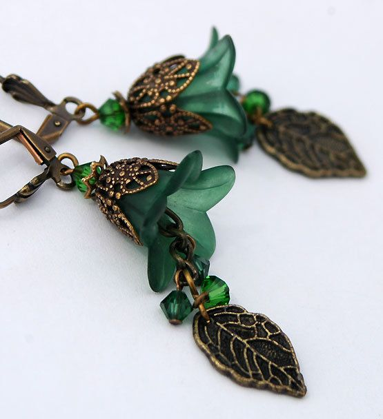 Forest Green Frosted Lilies, Leaf Charm Earrings with Ornate Brass, Swarovski Crystals