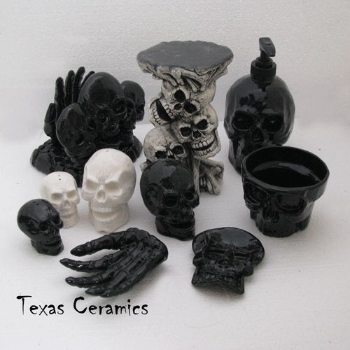 Black Skull Pump Dispenser Bottle Ceramic Halloween Horror Decor for the bathroom.