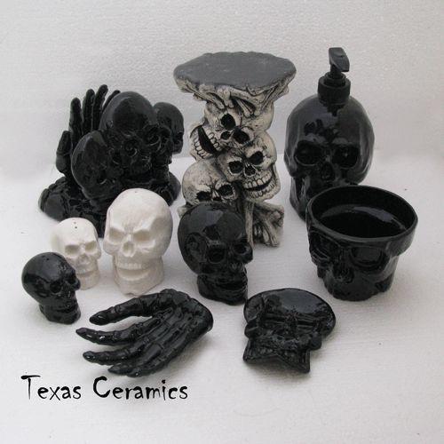 White Skull Dispenser Ceramic Pump Bottle Halloween Bath Vanity Decor