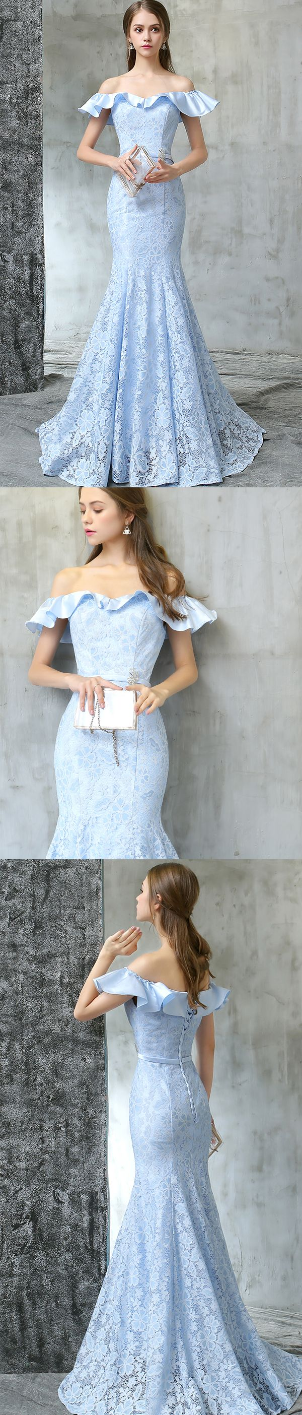 Off Shoulder | wavy top | Mermaid dress| baby blue | lace |