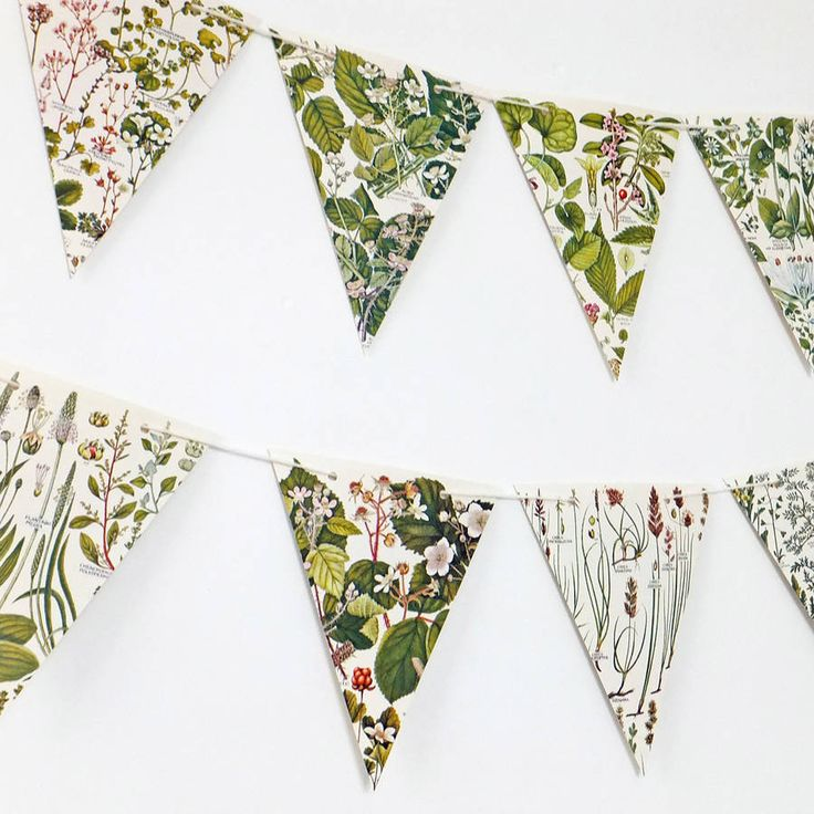 This gorgeous botanical bunting is perfect for a wedding, bridal shower or anniversary. Hang it anywhere in your home to bring a little of the outside in.