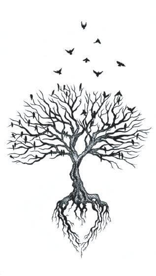 fe61eed4ec9b5 Waterproof Temporary Fake Tattoo Stickers Grey Vintage Tree Swallow Design  Body Art Make Up Tools