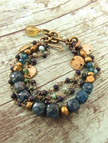 Handmade Bohemian Jewelry, Neon Apatite Bracelet, Boho Luxe Jewelry