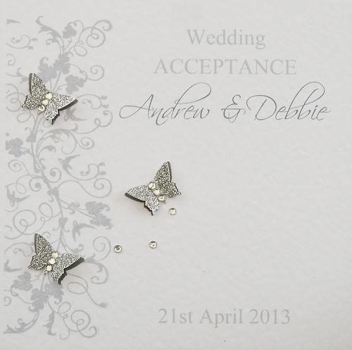 Personalised Handmade Wedding Acceptance Card - Silver & Grey | eBay