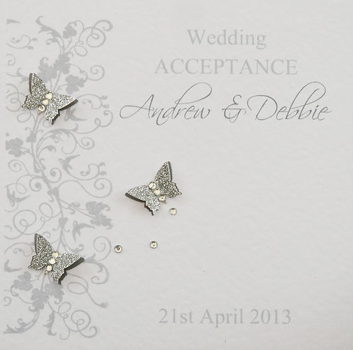 Personalised Handmade Wedding Acceptance Card - Silver & Grey | eBay