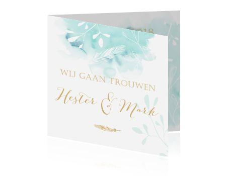 Romantische huwelijkskaart in goud en aquablauw