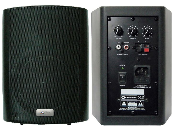 Australian Monitor ST50P 50 watt active stereo speakers for DVD or laptop audio playback.