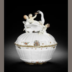 A Meissen écuelle and cover from the Swan service 1740