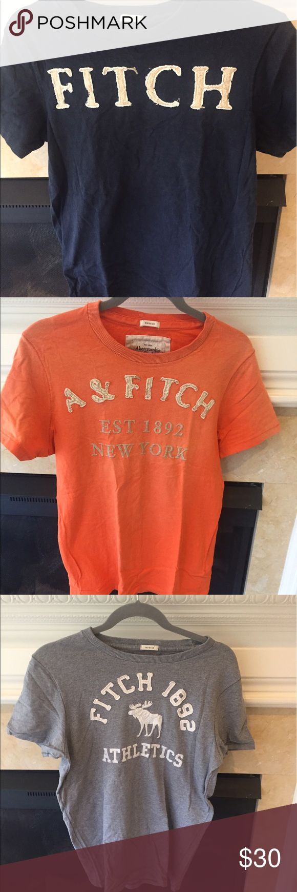 Lot of 3 Abercrombie and Fitch T shirts size M 3 T Shirts barely worn. All in perfect condition. The orange one has lite and dark orange and it's suppose to be like that. Size medium/teen or young adult Abercrombie & Fitch Shirts & Tops Tees - Short Sleeve
