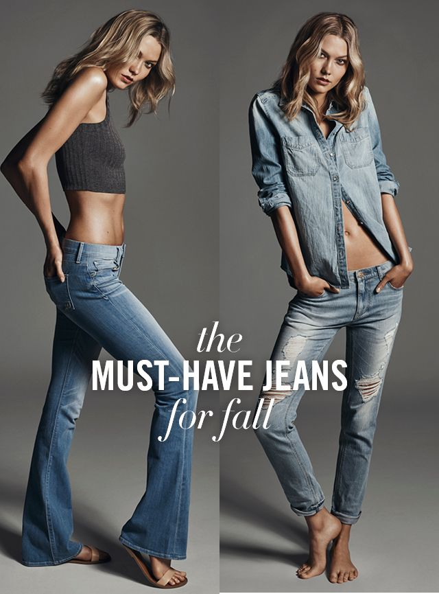 Here are two new jeans your closet needs this season! The Flare and Girlfriend fits by Express. The Flare has a bold, bell-shaped leg and is a direct descendant of the '70s trend we're loving. The Girlfriend, with its tapered fit that's roomy in the hip, is the epitome of casual cool. Let Karlie Kloss help find the Fit for You.
