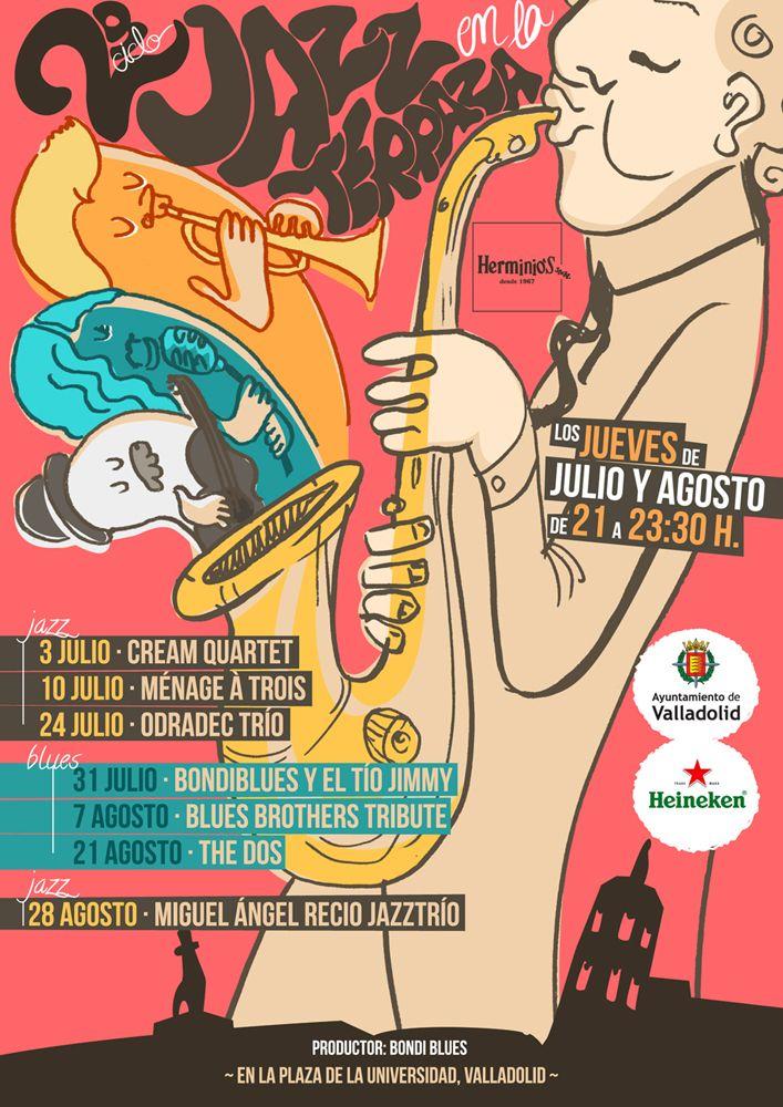Cartel para conciertos de Jazz en Bar Herminios, Pza Universidad Valladolid  Ilustración y cartel creado por Estela Labajo Duque