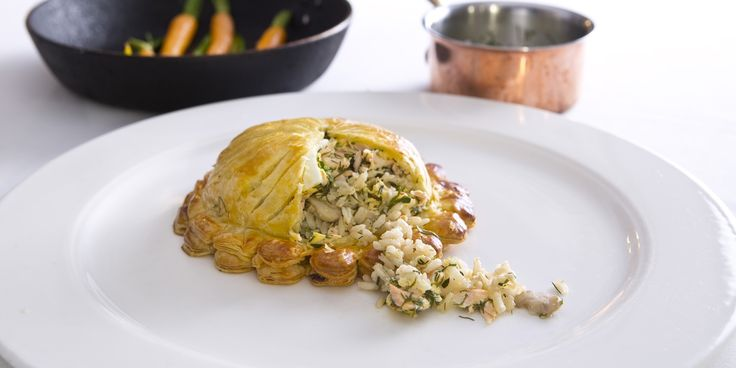 A recipe for individual puff pastry fish pies, based on a traditional salmon coulibiac recipe from chef Andrew Mackenzie.